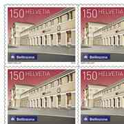 Swiss railway stations, Sheet «Bellinzona» Sheet with 10 stamps «Bellinzona» of CHF 1.50, self-adhesive, mint