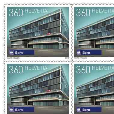 Swiss railway stations, Sheet «Berne» Sheet with 10 stamps «Berne» of CHF 3.60, self-adhesive, mint