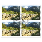 Swiss Foundation for Landscape Conservation, Block of four Set of blocks of four (4 stamps, postage value CHF 4.00), gummed, cancelled