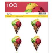 Summer, Sheet «Ice cream» Sheet with 10 stamps «Ice cream» of CHF 1.00, self-adhesive, cancelled