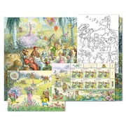 Fairy tales, Set of cards «Meadow» Card set «Meadow», 6 stamps of CHF 1.00, 6 colouring cards, 1 sticker card, 1 poster in A3 format