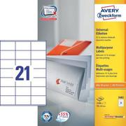 AVERY ZW. Etiquettes 70x41mm 3481 Universel, blanc 100fl. / 21pc.