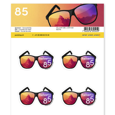 Summer, Sheet «Sunglasses» Sheet with 10 stamps «Sunglasses» of CHF 0.85, self-adhesive, mint