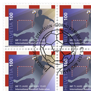 75 years IHF International Handball Federation, Sheet Sheet with 20 stamps of CHF 1.00, gummed, cancelled