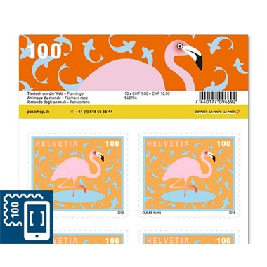 Animals around the world, Sheet «Flamingo» Sheet with 10 stamps «Flamingo» of CHF 1.00, self-adhesive, mint