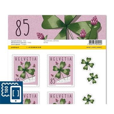 Special events, Sheet «Clover» Sheet with 10 stamps «Clover» of CHF 0.85, self-adhesive, mint
